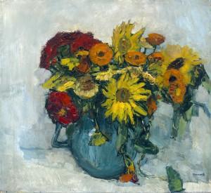 Sonnenblumen und Zinnien im Krug ⋅ um 1920 Image