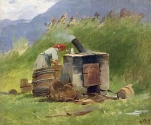 Waschkessel im Freien ⋅ um 1880/85 Image