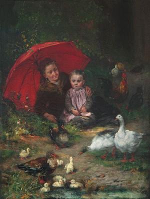 Kinder mit Gänsen und Küken ⋅ um 1882 Image