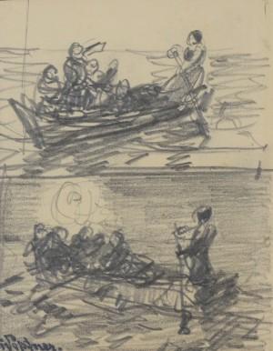 Chiemseeüberfahrt (Zwei Motive auf einem Blatt) ⋅ um 1885 Image