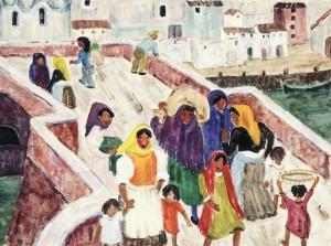 Frauen und Kinder auf der Brücke ⋅ um 1955 Image