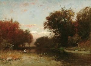 Herbstlandschaft mit Angler ⋅ um 1885 Image