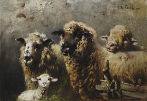 Schafe im Stall ⋅ um 1880 Image