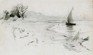Segelboot am Chiemsee ⋅ um 1885 Image