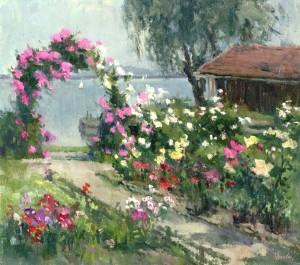 Schiefer-Garten mit Rosenbogen und Hütte (Frauenchiemsee) ⋅ um 1980 Image