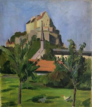 Burghausen - Garten mit Hühnern, im Hintergrund die Burganlage ⋅ 1910 Image