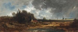 Flusslandschaft mit Mühlen bei Gewitterstimmung ⋅ um 1852 Image