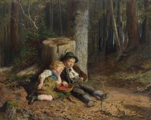 Beerenpflückende Kinder im Wald, eingeschlafen ⋅ um 1880 Image