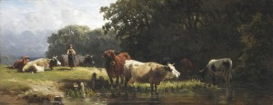 Kühe an der Tränke ⋅ um 1870 Image