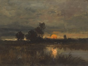 Sonnenuntergang im Moor Image