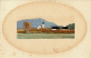 Postkarte mit farbiger Zeichnung an die Eltern ⋅ 1911 Image