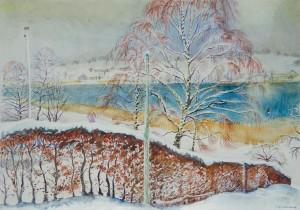 Verschneite Buchenhecke an der Mühlner Bucht ⋅ nach 1950 Image