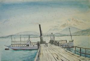 """Schraubendamper """"Schwalbe"""" am Anlegesteg auf der Fraueninsel ⋅ um 1945 Image"""