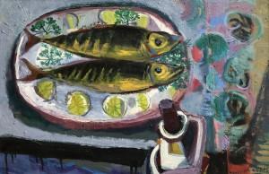 Makrelen auf Servierplatte ⋅ 1965 Image