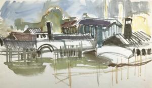 Fessler-Hafen in Prien Stock (Skizze) ⋅ 1953 Image