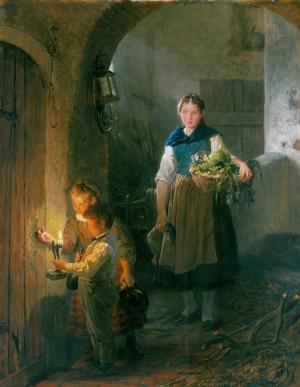 Küchenmagd mit Kindern im Vorratskeller Image