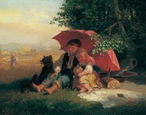 Kinder unterm Schirm ⋅ um 1870 Image