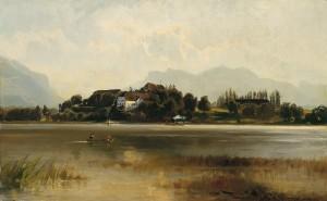 Blick vom Ganszipfel zum Stift Herrenchiemsee ⋅ 1884 Image