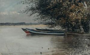 Ruderboote am Ufer der Herreninsel ⋅ 1894 Image