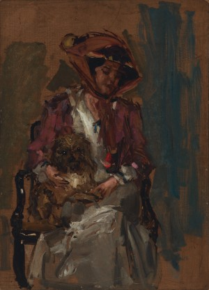 Pauline, die Gattin des Künstlers mit Hund ⋅ um 1910 Image