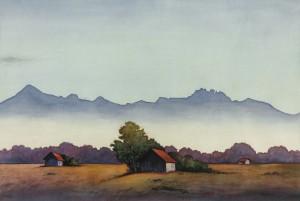 Im Chiemseemoos mit Blick zur Kampenwand ⋅ um 1970 Image