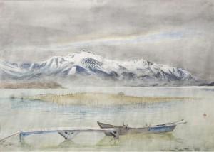 Boot am Chiemsee mit Kampenwand ⋅ nach 1945 Image