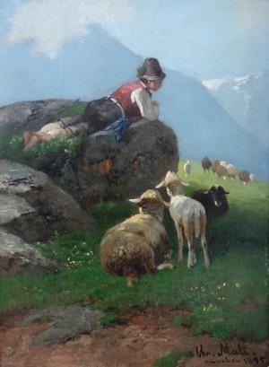 Rastender Hirtenknabe mit Schafherde in den Hochalpen ⋅ 1895 Image