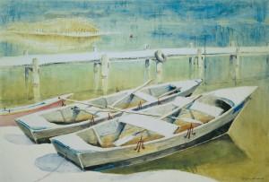 Ruderboote am Steg ⋅ nach 1950 Image