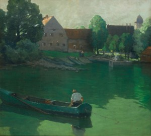 Frühsonne am Chiemsee mit Angler ⋅ 1931 Image