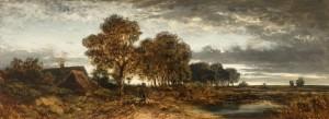 Abendlandschaft mit Schafherde und unter Bäumen fahrendem Landauer ⋅ um 1860/70 Image