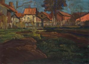 Im Herbst, Dorflandschaft Feldwies am Chiemsee ⋅ um 1920 Image