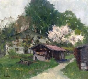 Frühling auf Frauenwörth (Bäckerhaus und Moserhütte) ⋅ um 1980 Image