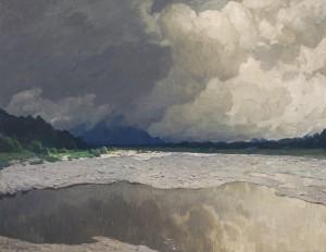 Aufziehende Gewitterwolken an der Iller ⋅ 1930 Image