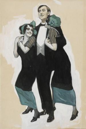 """Münchner Fasching (""""Balst a echter Baron bist, mag i die net. Da halt die liab grad so lang, bis die Weißwüscht verdaut ist."""") ⋅ 1912 Image"""