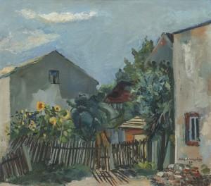 Bauernhaus mit Sonnenblumen ⋅ 1947 Image