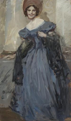 Dame im dunkelblauen Ballkleid ⋅ um 1940 Image
