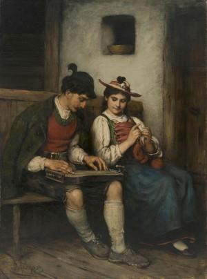Zitherspieler mit Mädchen auf der Bank ⋅ um 1877 Image