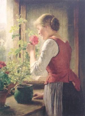 Mädel am Rosenstock ⋅ 1904 Image
