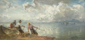 Zugnetzfischer vor der Fraueninsel ⋅ 1923 Image