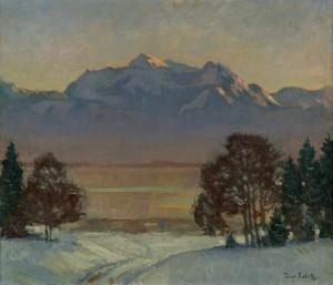 Sonnige Winterlandschaft am Chiemsee ⋅ um 1920 Image