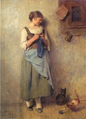 Strickendes Mädchen mit Katzen ⋅ 1890 Image