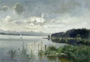 Segelboot am Simssee bei Krottenmühl ⋅ 1944 Image