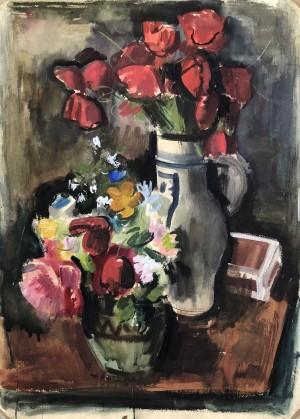 Blumensträuße am Tisch ⋅ um 1930 Image