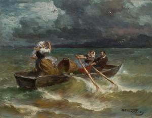 Überfahrt am Chiemsee bei aufziehendem Gewitter ⋅ um 1890/95 Image