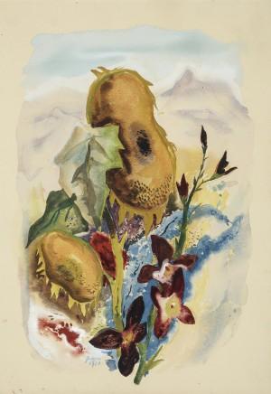 Blumengarten mit Kampenwand ⋅ 1950 Image