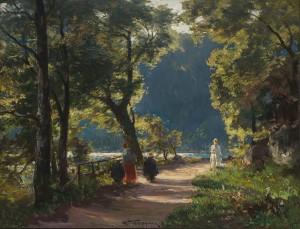 Spaziergänger am Kochelsee ⋅ um 1900 Image