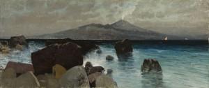 Felsiges Ufer mit Blick auf den Vesuv ⋅ um 1890 Image