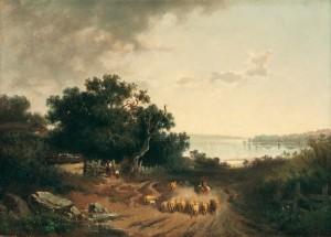 Heimkehrende Schafherde am Chiemsee (Blick vom Ganszipfel auf Herrenchiemsee) ⋅ um 1870 Image