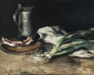 Stillleben mit Lauch, Speck und Zinnkrug ⋅ 1941 Image