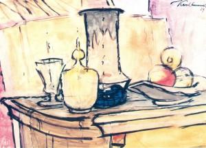 Stillleben mit Glas, Japanischer Vase und Obstschale ⋅ 1929 Image